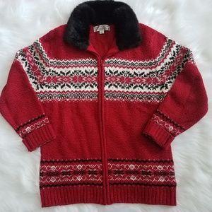 Carolyn Taylor faux fur collar sweater in red